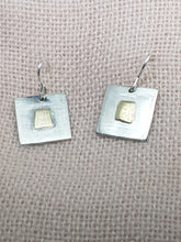 Sold! Sterling silver & 9ct gold square drop earrings