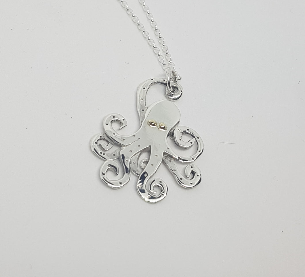 Sterling silver 3d Octopus with 9ct gold eyes