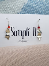 "Sterling silver textured  ""Holly & Berry"" drop earrings"