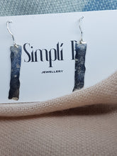 Sterling silver hammered long drop earrings