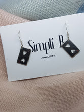 Sterling silver two of hearts drop earrings