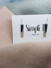 Sterling silver diagonally textured drop earrings