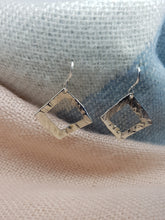 Sterling silver hammer textured cut out square drop earrings