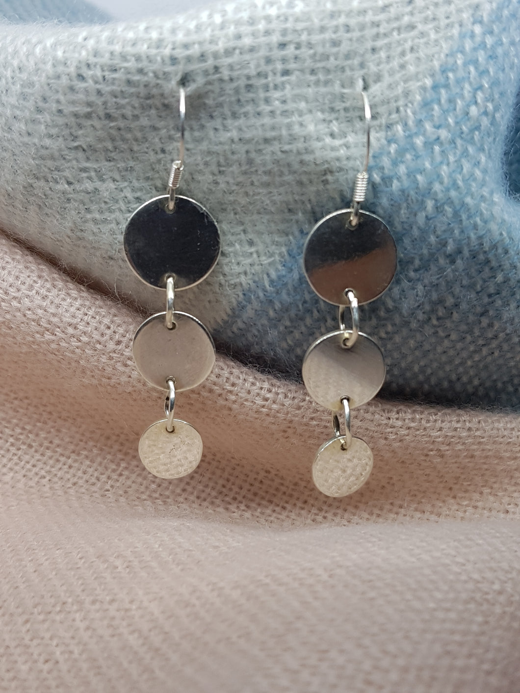 Sterling silver long joined disc drop earrings