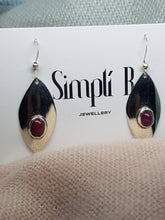 Sterling silver drop earrings set with Ruby cabochon stones