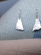 Sterling silver hammer textured triangle earrings