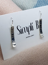 Sterling silver stamp textured curved drop earrings