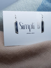 Sterling silver flat textured trapezoid drop earrings