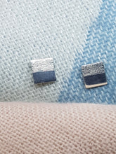 Sterling silver half textured flat square stud earrings
