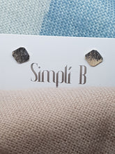 Sterling silver square hammer textured & slightly curved stud earrings