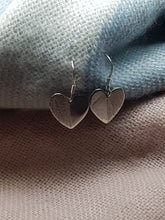 Sterling silver flat half textured heart drop earrings