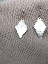 Sterling silver hammer textured long drop earrings