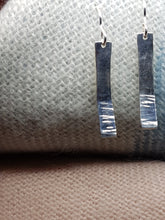 Sterling silver half hammer textured curved drop earrings