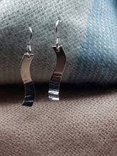 Sterling silver S shaped half hammer textured curved drop earrings