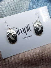 Sterling silver oval textured cut out half moon drop earrings