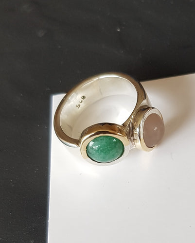 Sterling silver ring set with rose quartz & aventurine