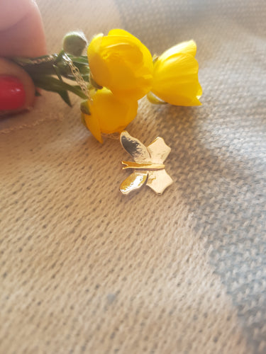 Sterling silver Flutterby Butterfly with 9ct gold accent