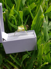 Sterling silver ring set with lemon peridot cubic zirconia