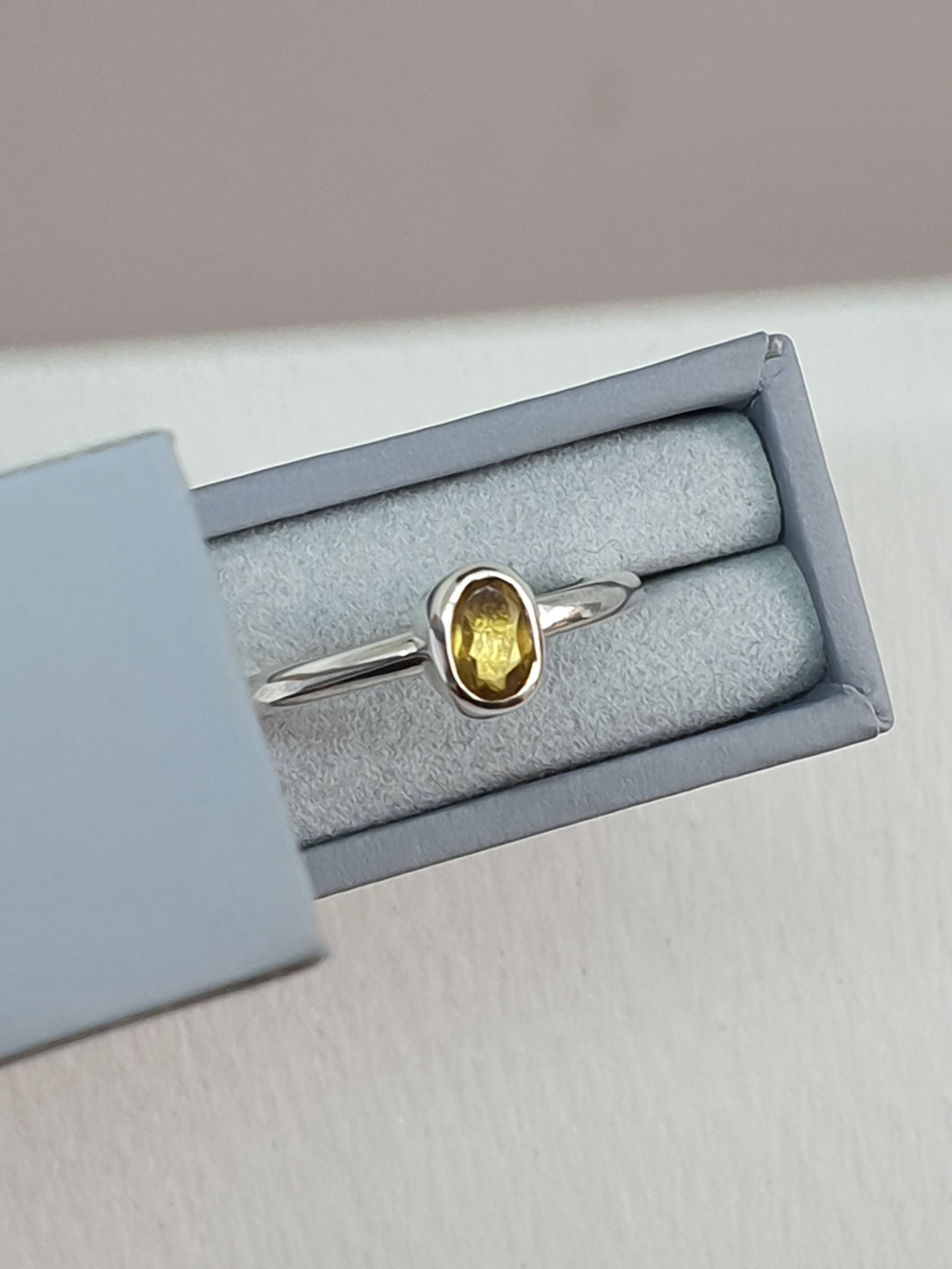 925 sterling silver ring set with a citrine gemstone