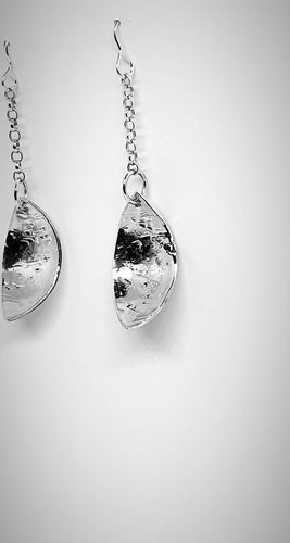 Textured 925 sterling silver drop earrings