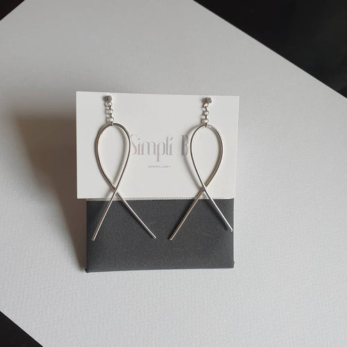 925 sterling silver chain & twist drop earrings