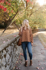 Toffee And Cream Striped Blouse