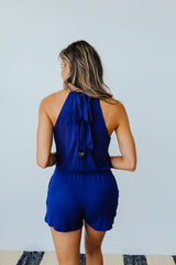 Hayley Halter Romper In Navy