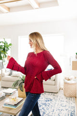 Caitlyn Cable Knit Top In Cranberry