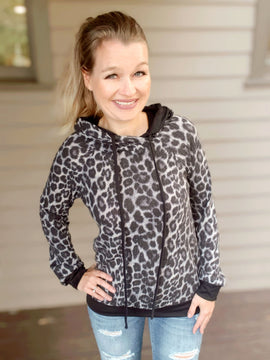 """""""Wild Thing"""" Leopard Print Hoodie Charcoal"""