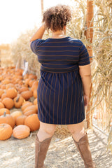 Angles And Stripes Dress in Navy