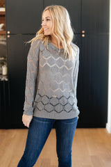Eden Sheer Top in Gray