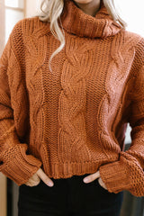 Classic Cable Knit Sweater in Ginger Spice