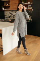 Diamond Details Sweater Tunic in Grey