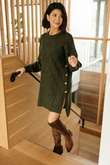 Diamond Details Sweater Tunic in Olive