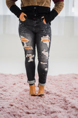 Judy Blue Bleach Splash Boyfriend Jeans In Gray