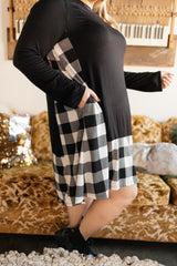 Hints Of Plaid Dress in Ivory