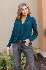Office Miss Top in Teal
