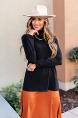 Plain Jane Turtle Neck Top in Black