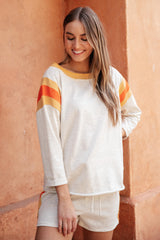 Sporty Stripe Pullover In Oatmeal