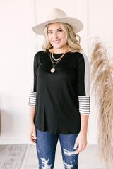 The Edge Of Stripes Top in Black