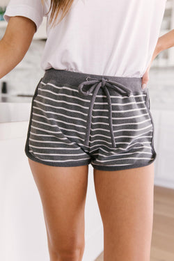 Varsity Stripes Shorts in Charcoal