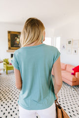 Braided Trim Turquoise Top