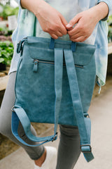 Girl On The Go Backpack In Faded Denim