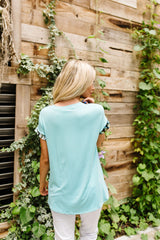 Just A Stripe Of Tie Dye Top in Aqua