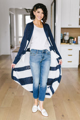 Navy & White Long Striped Cardigan