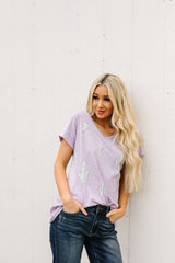 Prickly Business Top In Lavender