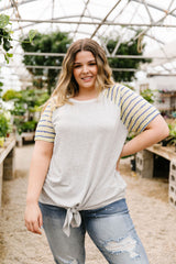 Raglan Stripes Tie Front Tee In Pale Yellow