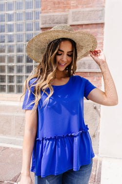 Ruffled Peplum Top In Blue
