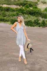 Ruffled V Babydoll Tunic/Dress In Sage