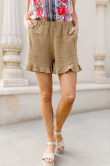 Ruffly Speaking Shorts In Khaki